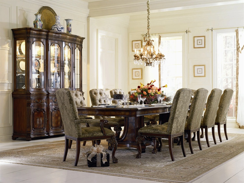 High Quality Grandeur 7 Piece Double Pedestal Dining Table Set In Cherry Ash Burl Finish  By Hooker Furniture HF 733 75 206