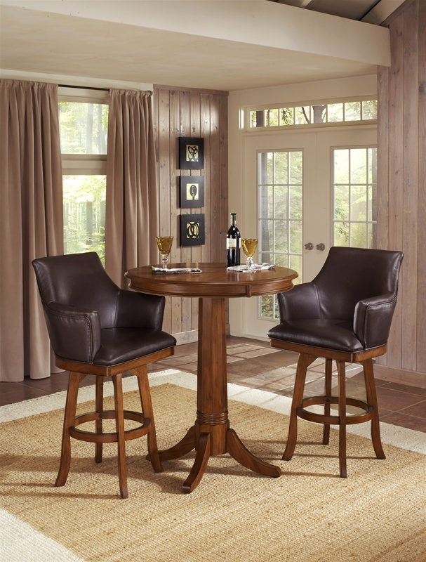 Park View Barrel Back 3 Piece Bistro Table Set In Medium Brown Oak Finish  By Hillsdale Furniture  4186 3B
