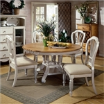 Wilshire 5 Piece Round/Oval Dining Set in Antique White and Pine Two Tone Finish by Hillsdale Furniture - 4508-816-5