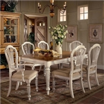 Wilshire 7 Piece Rectangle Dining Set in Antique White and Pine Two Tone Finish by Hillsdale Furniture - 4508-819-7