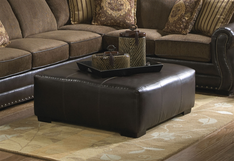 Austin Cocktail Ottoman In Dark Brown Leather Like Fabric By Jackson  Furniture   3202 28