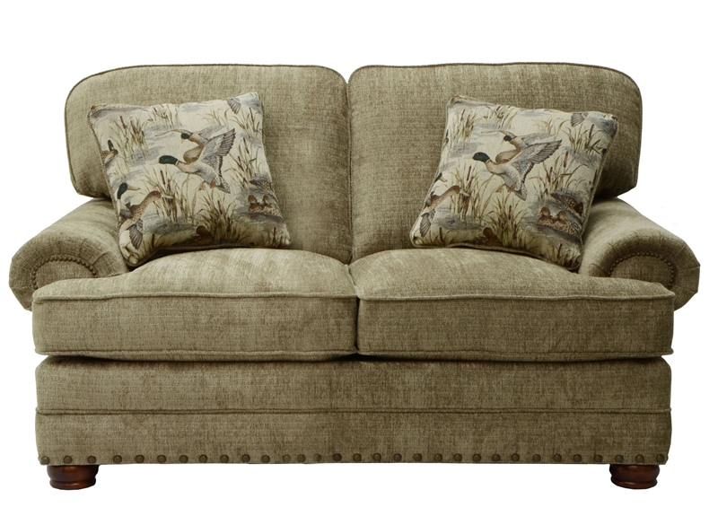 Homestead Loveseat In Mocha Fabric With Camo Pillows By Jackson Furniture 3293 02