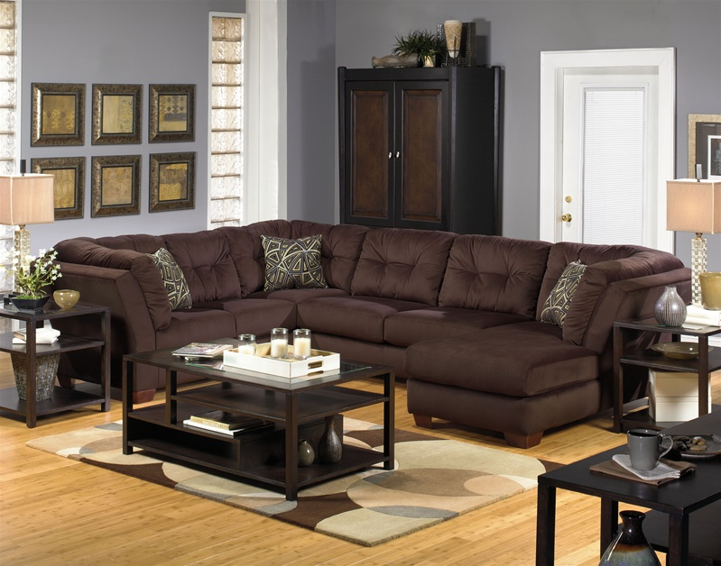 Boulevard 3 piece lsf sectional in chocolate fabric by for Lsf home designs furniture