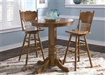 Nostalgia Round Pub Table 3 Piece Dining Set with 30 Inch Press Back Barstools in Medium Oak Finish by Liberty Furniture - 10-PUB42