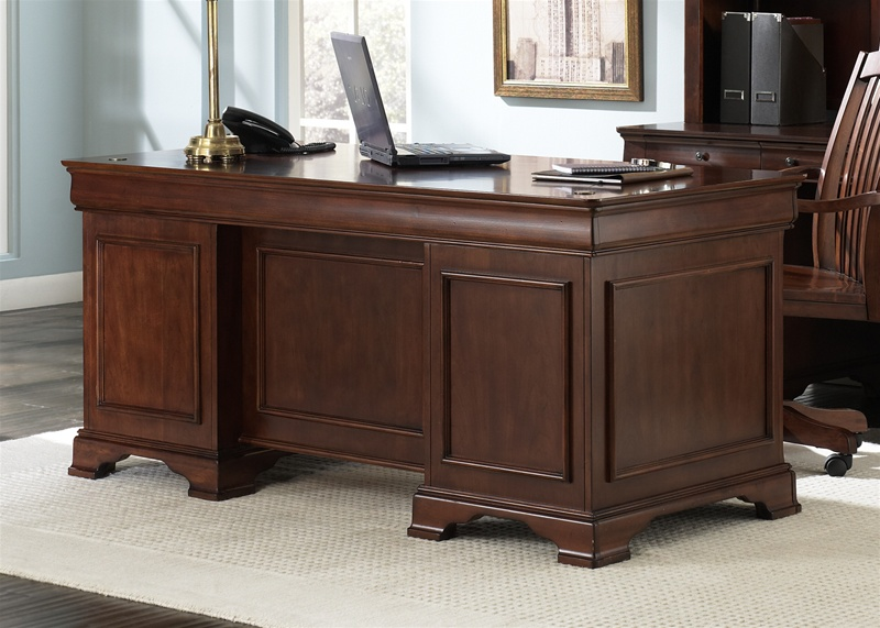 louis jr executive home office desk in deep cherry finish by liberty furniture 101 ho105
