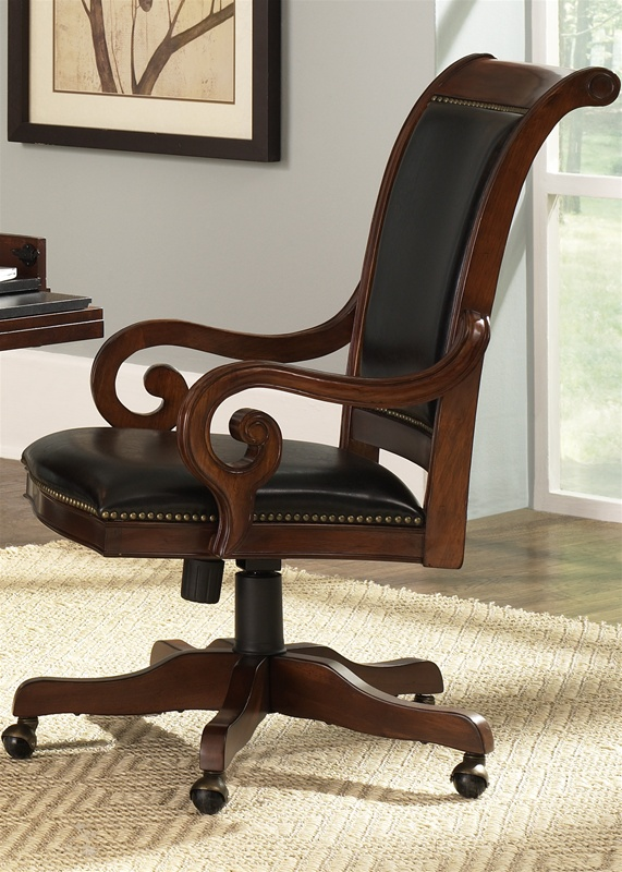 Louis Jr Executive Upholstered Office Chair In Deep Cherry Finish By  Liberty Furniture   101 HO193