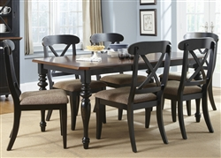 Abbey Court X Back Chairs 5 Piece Dining Set in Black and Cherry Finish by Liberty Furniture - LIB-111-C3001S