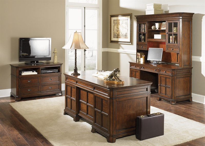 Remington jr executive credenza and hutch in brown whiskey finish by liberty furniture 114 ho131 - Executive home office furniture sets ...