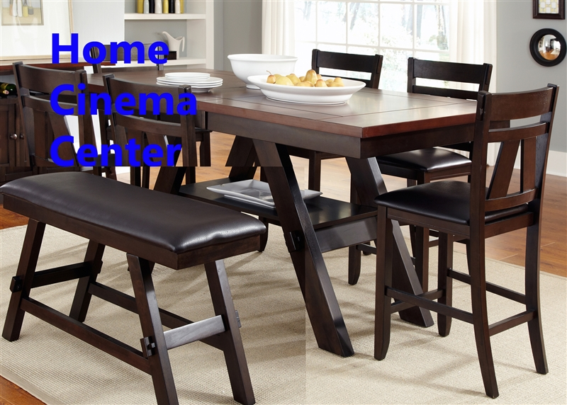 lawson 6 piece counter height dining set in espresso two tone finish by liberty furniture lib. Black Bedroom Furniture Sets. Home Design Ideas