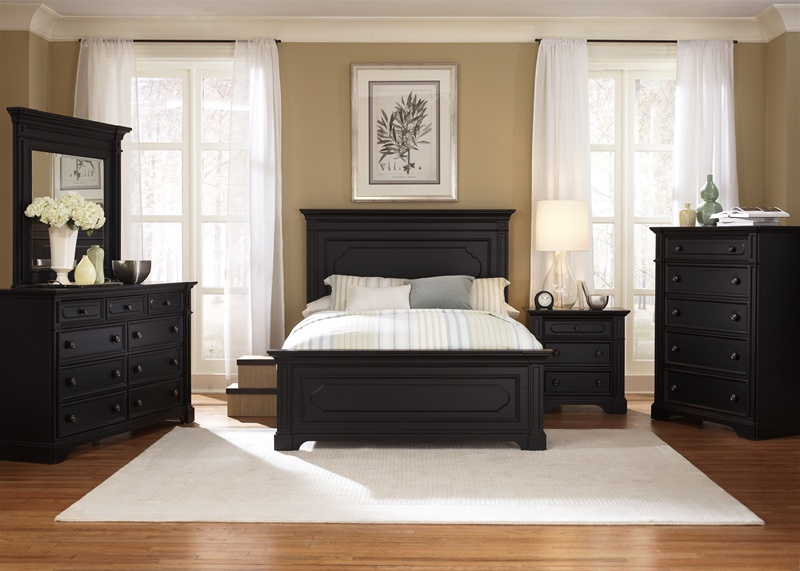 Southern Cachet Panel Bed 6 Piece Bedroom Set in Hand Rubbed Black ...