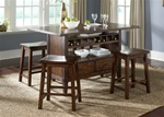 Cabin Fever Center Isle 5 Piece Dining Set in Bistro Brown Finish by Liberty Furniture - 121-IT3660