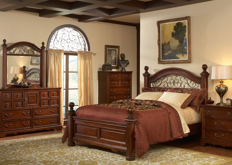 Castille poster bed 6 piece bedroom set in rustic brown Traditional wood headboard
