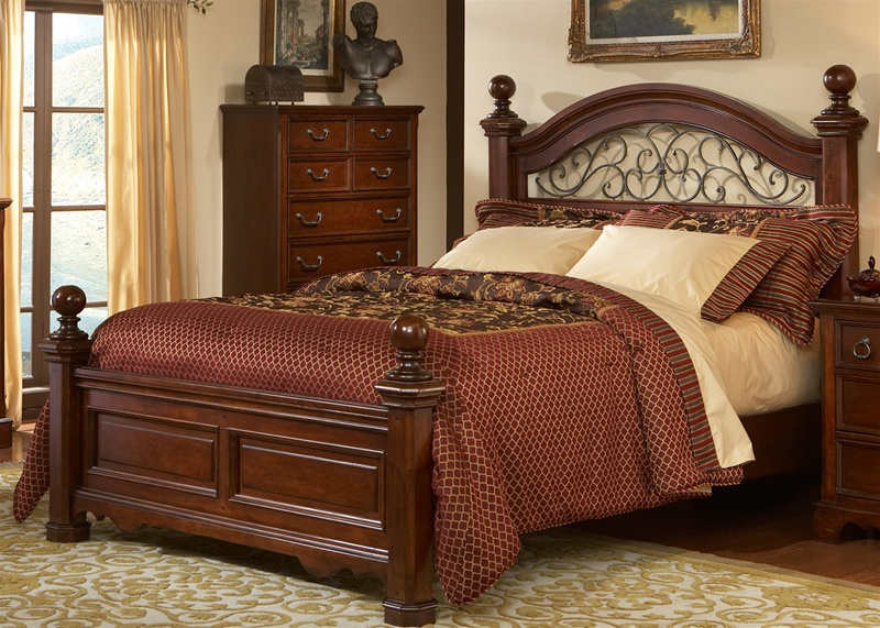 Cherry Bedroom Furniture Traditional castille poster bed 6 piece bedroom set in rustic brown cherry