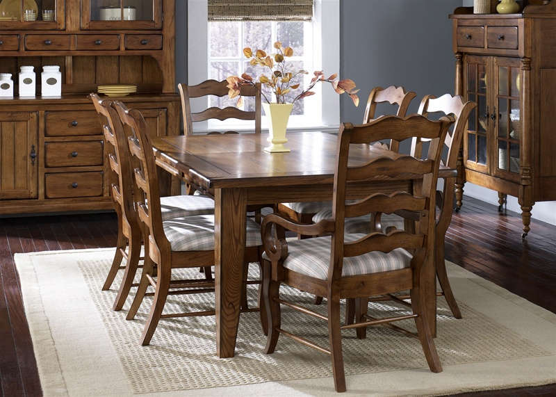 Treasures Extension Leg Table 7 Pc Set In Rustic Oak Finish With Oak Ladder  Back Chairs By Liberty Furniture   17 C1070