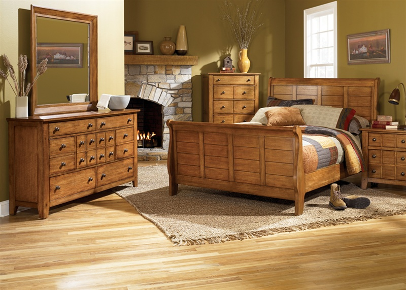Grandpa S Cabin Sleigh Bed Piece Bedroom Set In Aged Oak Finish