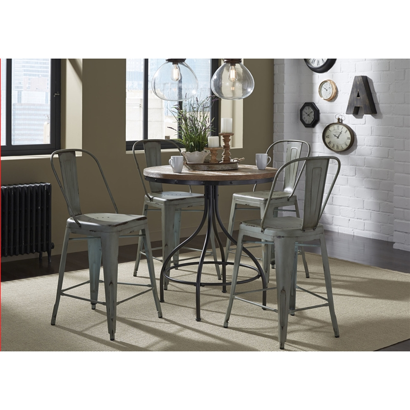 Counter Height Gathering Table Sets : Vintage Counter Height Gathering Table 5 Piece Set in Weathered Gray ...
