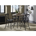 Vintage Counter Height Gathering Table 5 Piece Set in Weathered Gray and Black Metal Finish by Liberty Furniture - 179-GT-XB