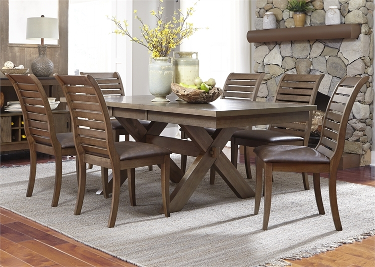 bayside crossing trestle table 5 piece dining set in