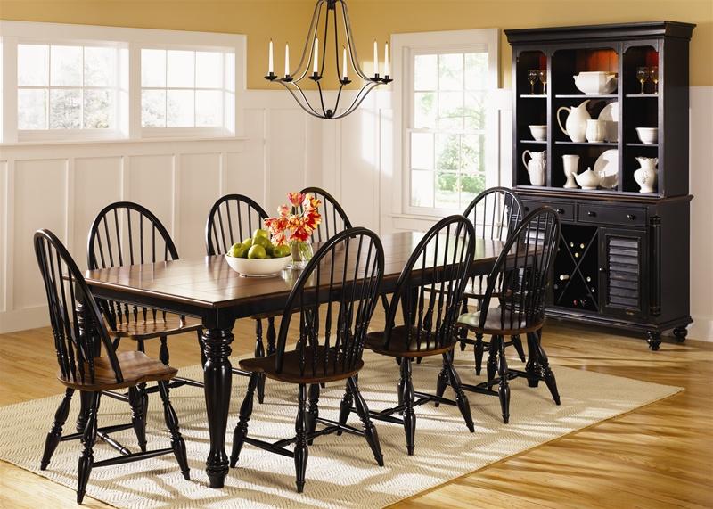 Black And Cherry Kitchen Table Part - 35: Sturbridge Rectangular Leg Table 7 Pc Set In Black U0026 Cherry Finish By  Liberty Furniture - 19-T4494