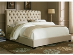 Chesterfield Sleigh Bed in Natural Linen Fabric by Liberty Furniture - LIB-200-BR21HU
