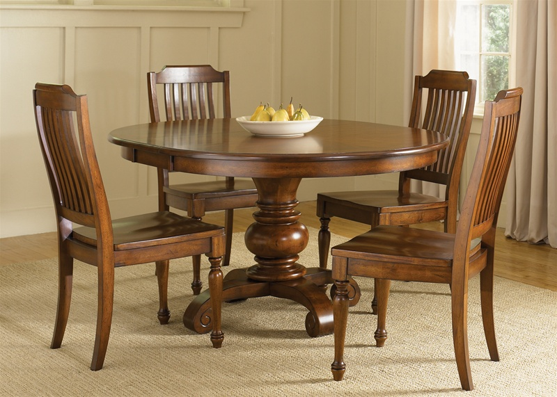 americana round pedestal table 5 piece dining set in chestnut