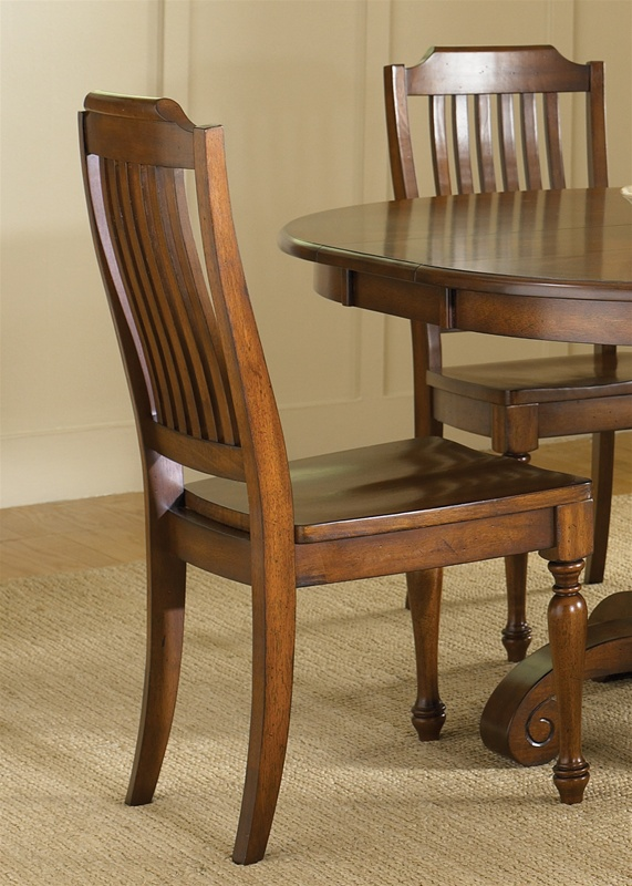 Americana Round Pedestal Table 5 Piece Dining Set in Chestnut Finish by  Liberty Furniture   206 T4860Americana Round Pedestal Table 5 Piece Dining Set in Chestnut  . Round 5 Piece Dining Set With Leaf. Home Design Ideas
