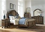 Tuscan Valley Panel Bed 6 Piece Bedroom Set in Weathered Oak Finish with Gray Dusty Wax by Liberty Furniture - 215-BR