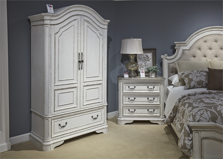 Magnolia Manor Upholstered Bed 6 Piece Bedroom Set In Antique White Finish By Liberty Furniture