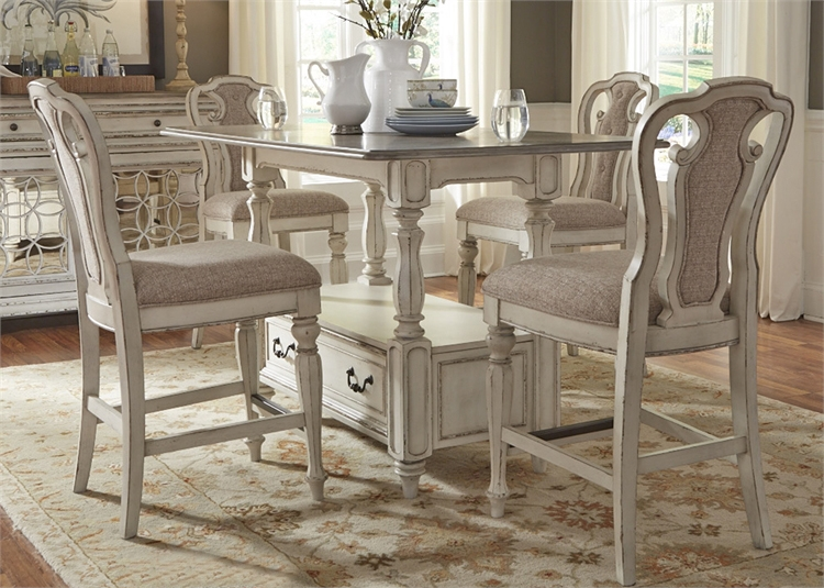 magnolia manor counter height table 5 piece dining set in antique white finish by liberty. Black Bedroom Furniture Sets. Home Design Ideas
