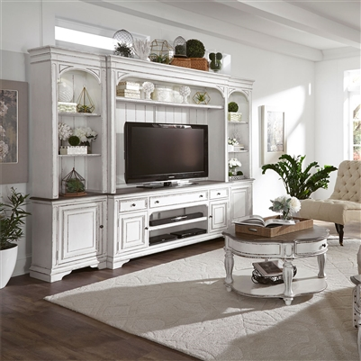 Magnolia Manor 4 Piece Entertainment Wall In Antique White