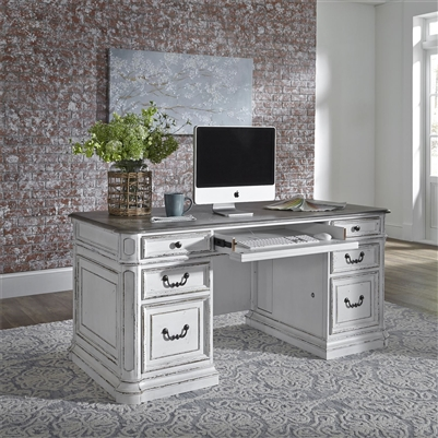 Magnolia Manor Jr Executive Desk in Antique White Finish ...