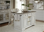 Magnolia Manor Kitchen Island with Granite in Antique White Finish by Liberty Furniture - 244-IT6032G