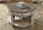 Magnolia Manor Round Cocktail Table in Antique White Finish by Liberty Furniture - 244-OT1011