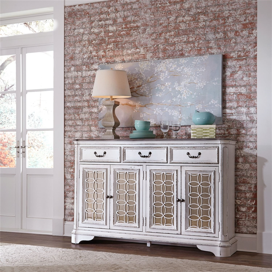 Magnolia Manor Hall Buffet In Antique White Finish By Liberty Furniture    244 SR6642