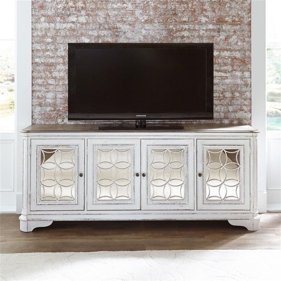 Magnolia Manor 84 Inch Tv Console In Antique White Finish