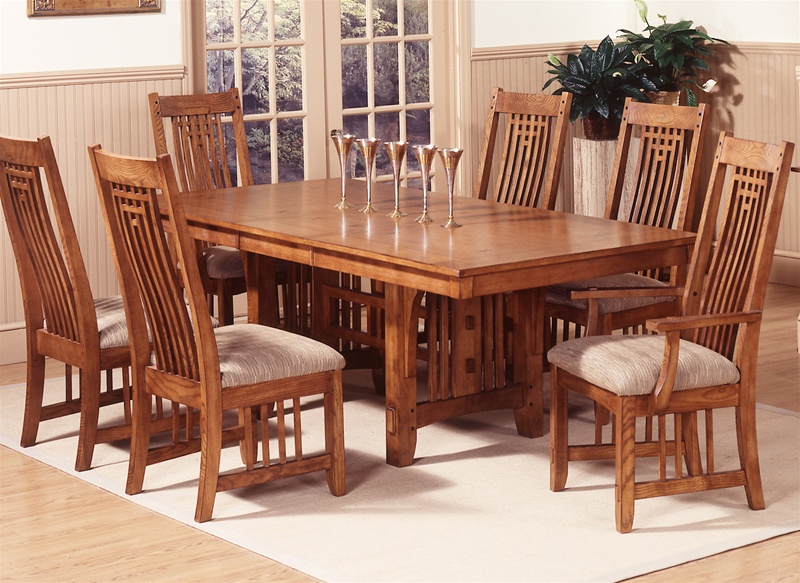 Santa Rosa Trestle Table 7 Pc Set In Mission Oak Finish By