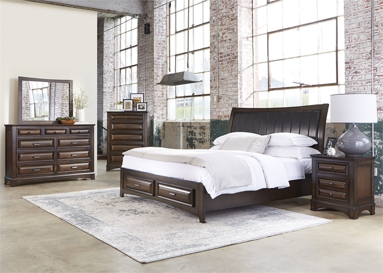 Storage Bed 6 Piece Bedroom Set in Dark Cognac Finish by Liberty ...