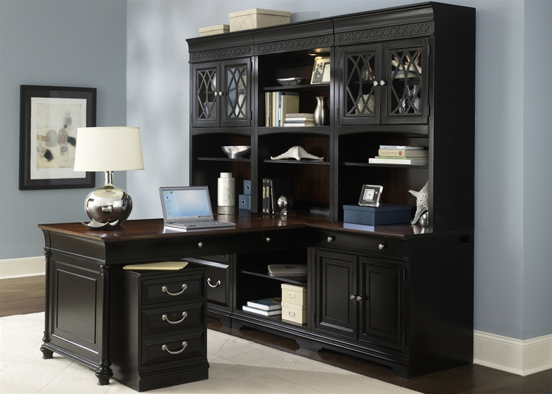 St. Ives Executive Home Office Peninsula Set With Hutch In Two Tone Finish  By Liberty