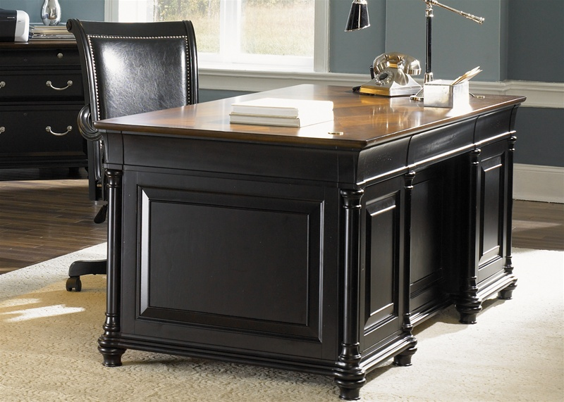 st ives executive home office desk in two tone finish by liberty furniture 260 ho100