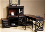 St. Ives 4 Piece Home Office Set in Chocolate & Cherry Finish by Liberty Furniture - 260-HO111C