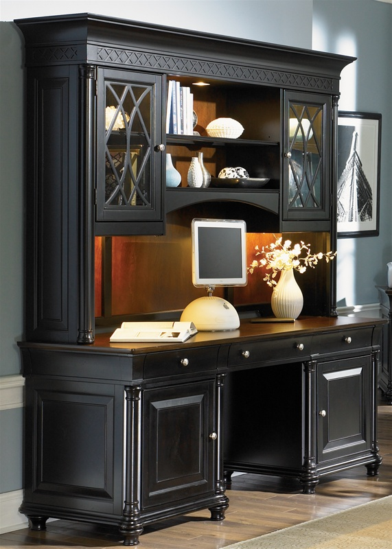 st. ives executive home office credenza & hutch in two tone finish