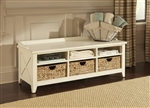 Hearthstone Cubby Storage Bench in Rustic White Finish by Liberty Furniture - 282-OT47