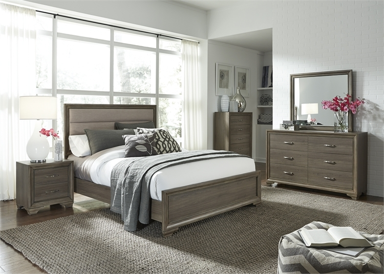 hartly upholstered bed 6 piece bedroom set in gray wash finishliberty furniture - 283-br