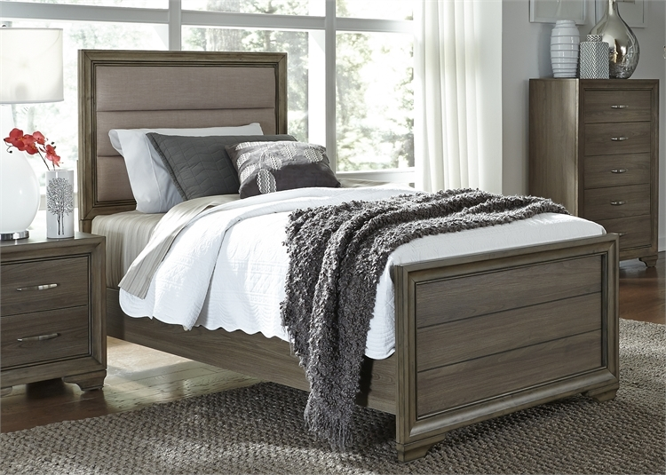 Hartly Upholstered Bed 4 Piece Youth Bedroom Set In Gray