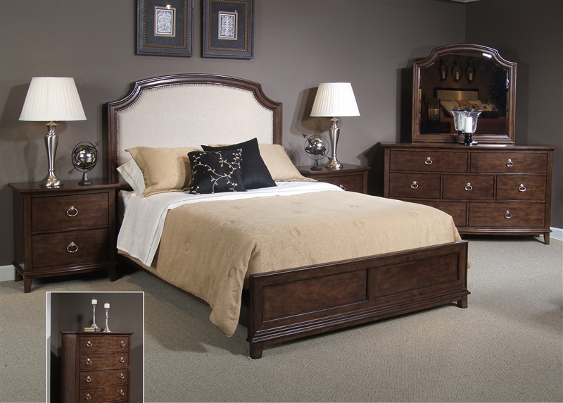 midland park platform bed 6 piece bedroom set in toffee