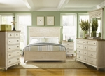 Ocean Isle Panel Bed 6 Piece Bedroom Set in Bisque with Natural Pine Finish by Liberty Furniture - 303-BR13