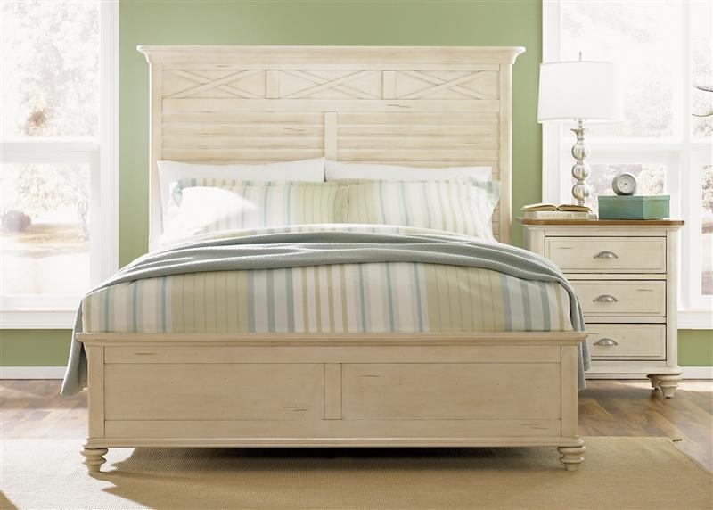 Ocean Isle Panel Bed 6 Piece Bedroom Set In Bisque With
