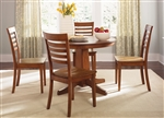 Cafe Collections Round Pedestal Table 3 Piece Dining Set in Cognac Finish by Liberty Furniture - 33-T4242
