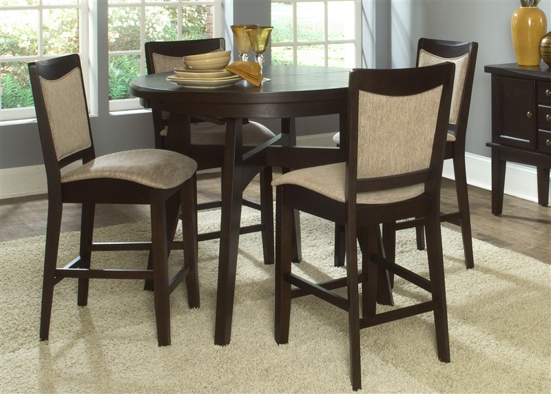 ashby oval pub table 5 piece dining set in espresso finish by