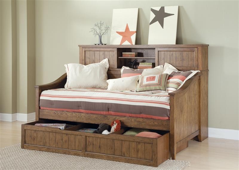 Hearthstone Bookcase Daybed in Rustic Oak Finish by Liberty Furniture -  382-BR09SU - Hearthstone Bookcase Daybed In Rustic Oak Finish By Liberty